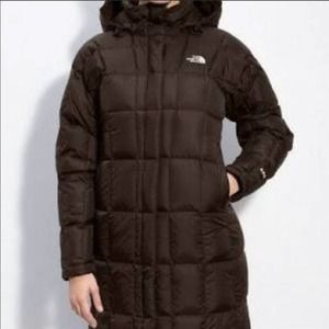 The North Face Brown Long Quilted Down Jacket